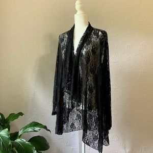 Rene Taylor black lace Duster